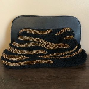 New Anthropologie Beaded Shearling Clutch Bag
